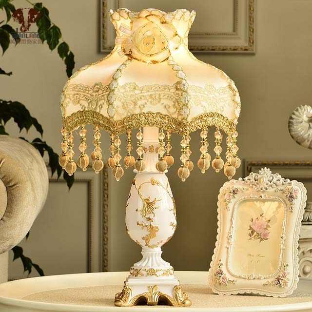 W28cm-H51cm110v220v-e27-мода-настольные-лампы-роскошные-спальни-кровать-светло-освещение-настольная-лампа-для-бара-Гостиной