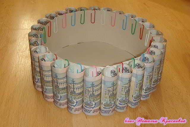 Как пошагово сделать торт из денег своими руками пошагово 61