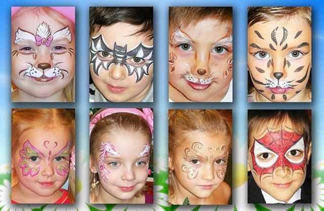 аквагрим на лице - идеи рисунков