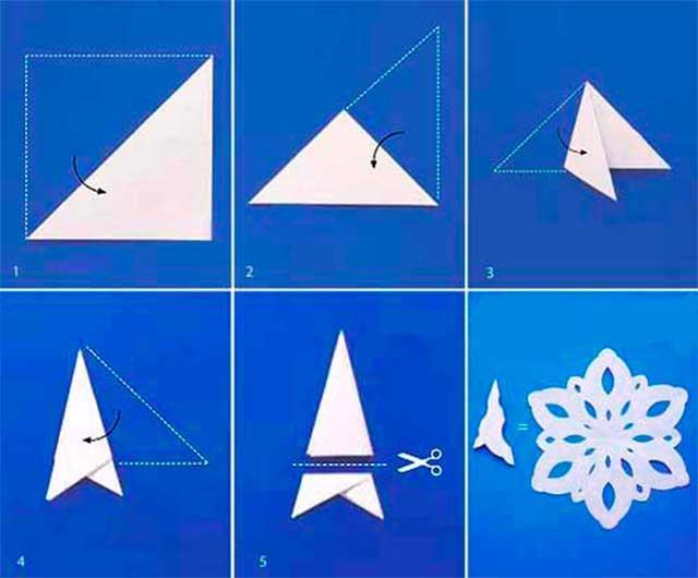 Как сделать красивые снежинки поэтапно