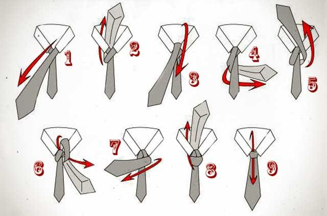 Как завязать широкий галстук пошагово фото