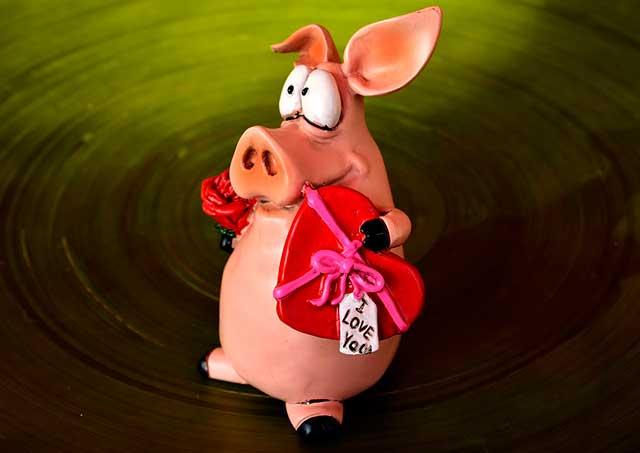 свинья с сердечком