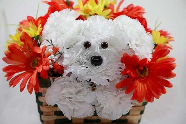 композиция из цветов в виде собачки
