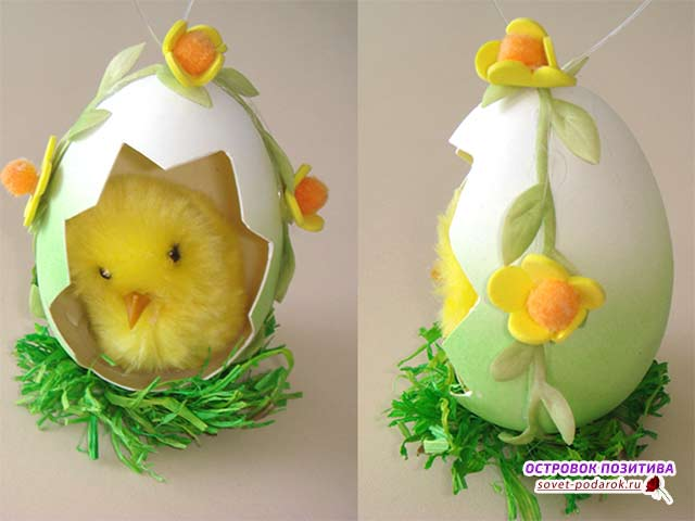 декоративное яйцо на пасху с цыпленком