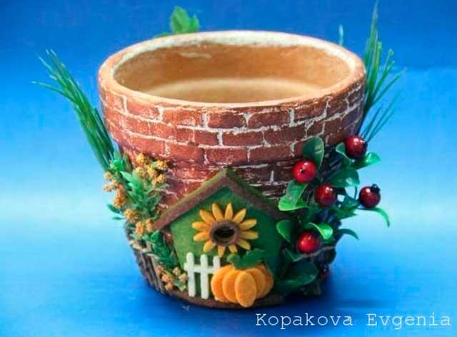 красивый декор горшка для цветка