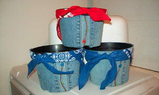горшок для цветов из джинсовой ткани
