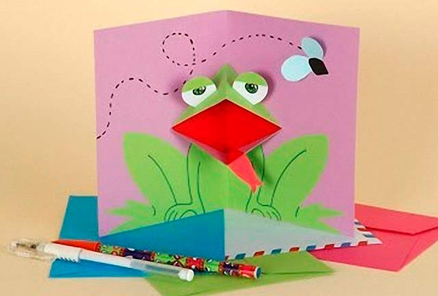объемная открытка лягушка