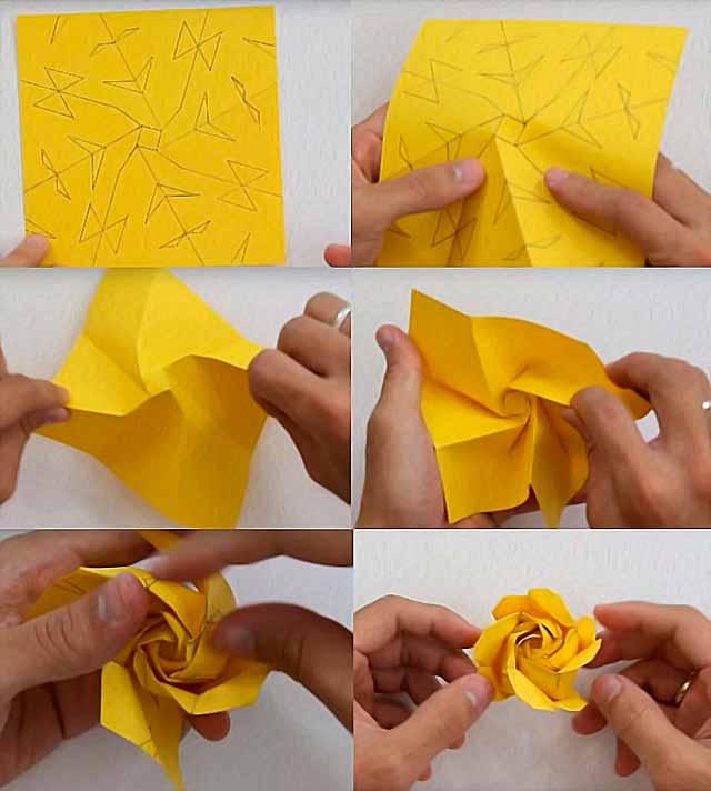 схема складывания розы