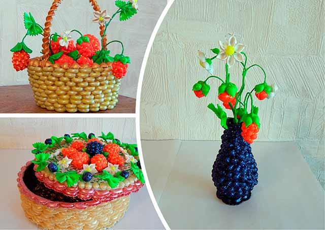 вазочки из макарон