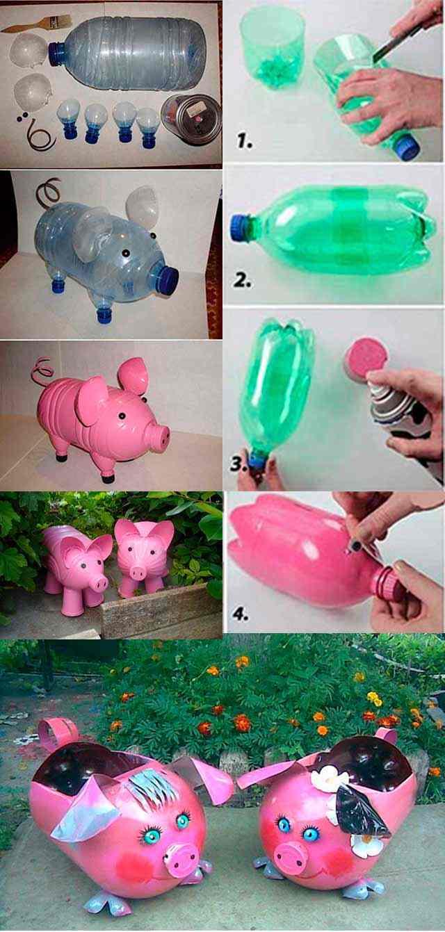 Как сделать своими руками поросят из пластиковых бутылок своими руками фото 601