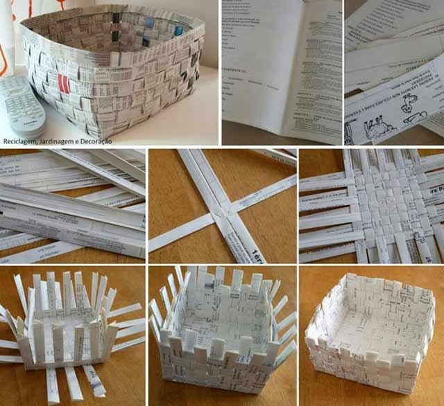 схема плетения корзинки из журналов