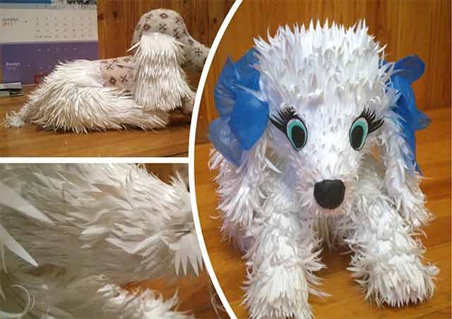 собака из полиэтиленовых пакетов