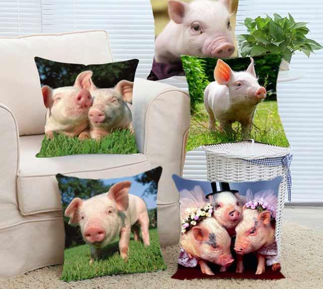 подушки с изображением свиньи