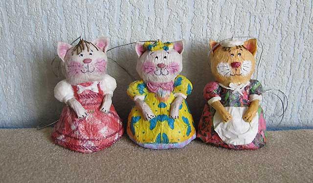 игрушки кошки из папье-маше