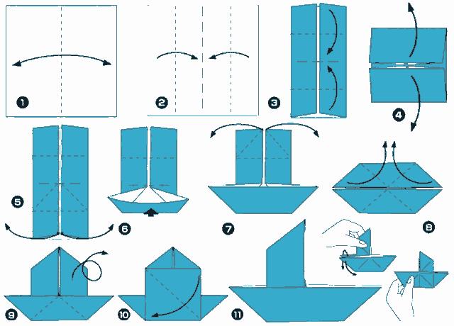 схема складывания парусника