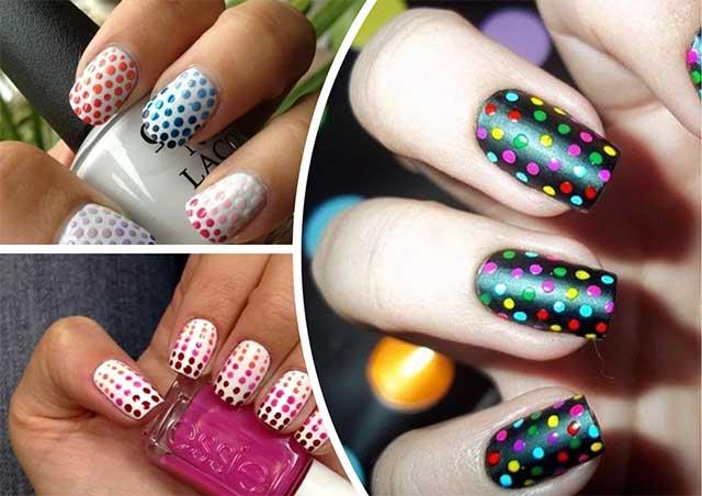 горошек на ногтях разного цвета