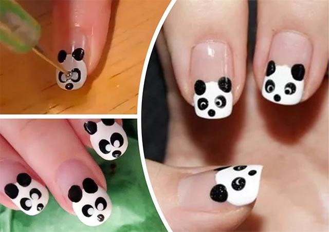 на ногтях панда