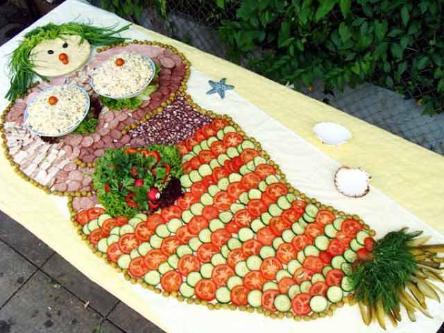 русалка из овощей