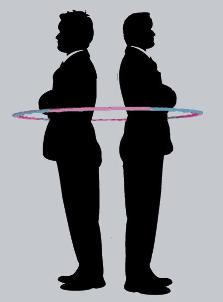двое мужчин в обруче