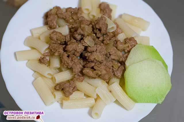 макароны с вареным мясом