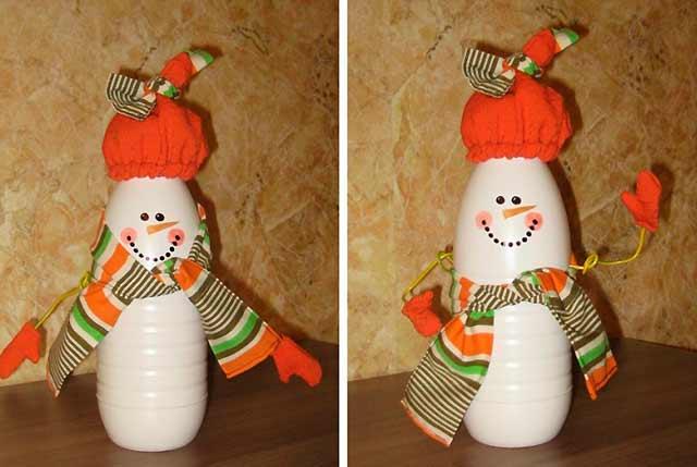 снеговик из белой бутылки
