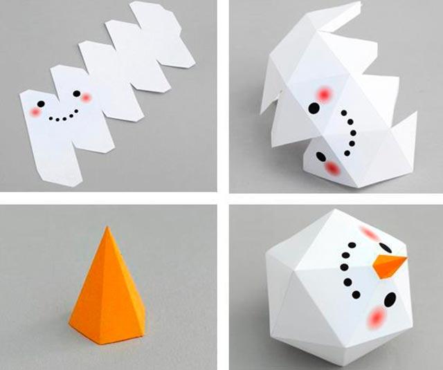 схема снеговика из бумаги