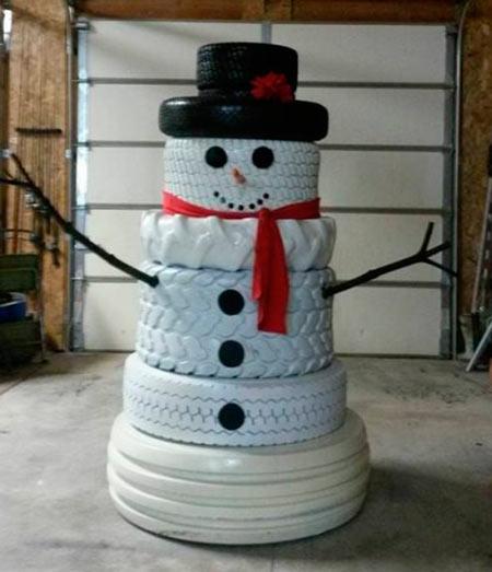 снеговик из шин