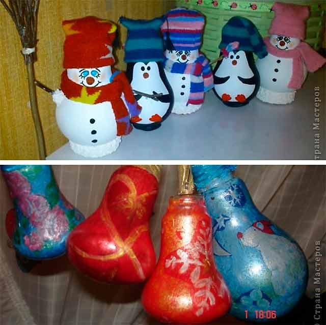 изделия из лампочек на новый год