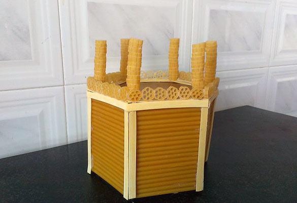 обшивка поделки макаронами