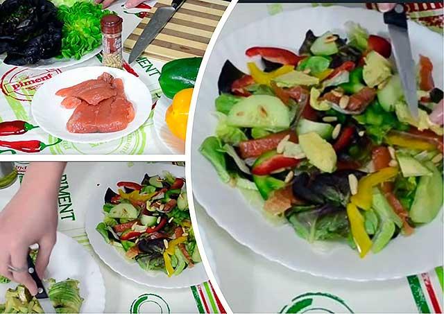 салат с семгой и авакадо