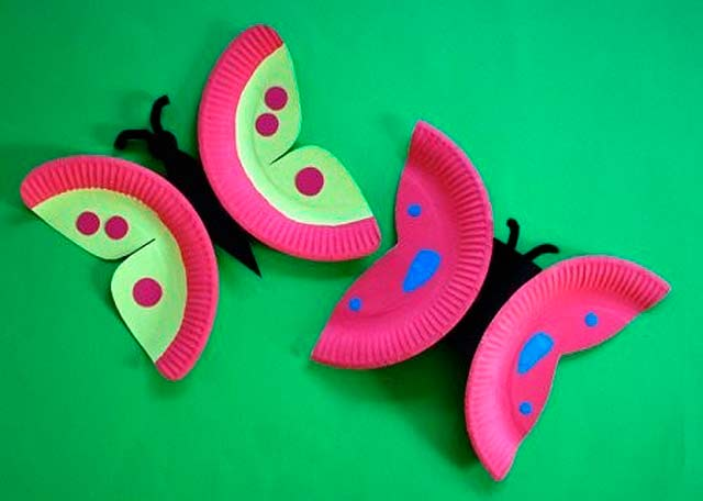 бабочки из тарелок - поделка