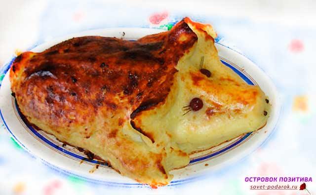 картофельное пюре в форме свиньи