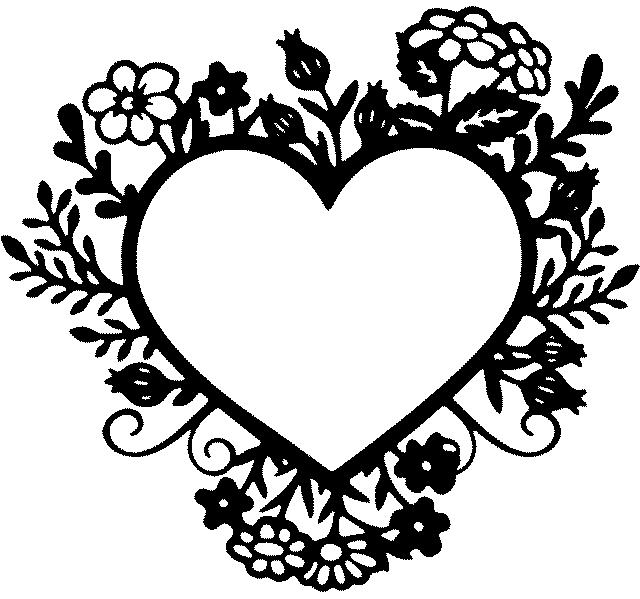 шаблон сердца с цветочками