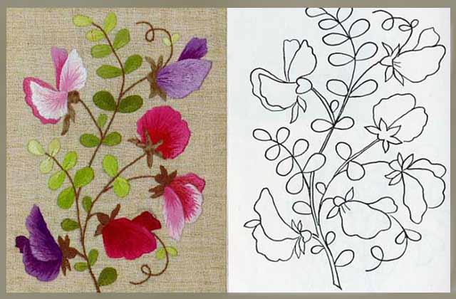 трафарет для вышивки цветов