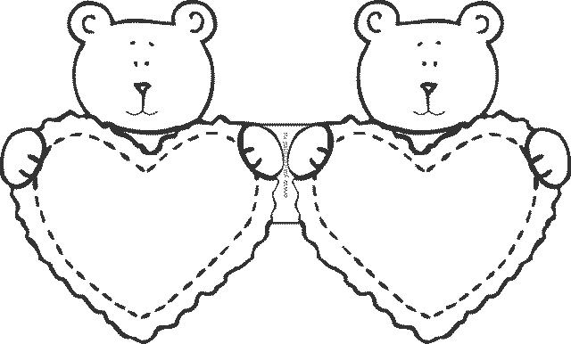 шаблон валентинки с медведем