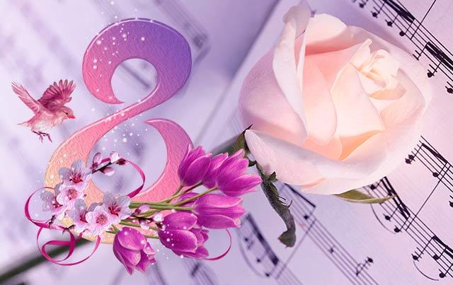 розовая роза на открытке к празднику 8 марта