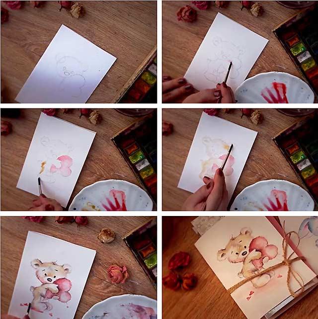 Утро.хорошей, рисовать бабушке открытку