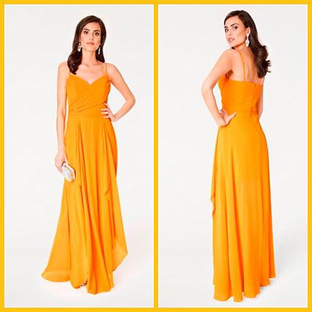 платье желтое в пол
