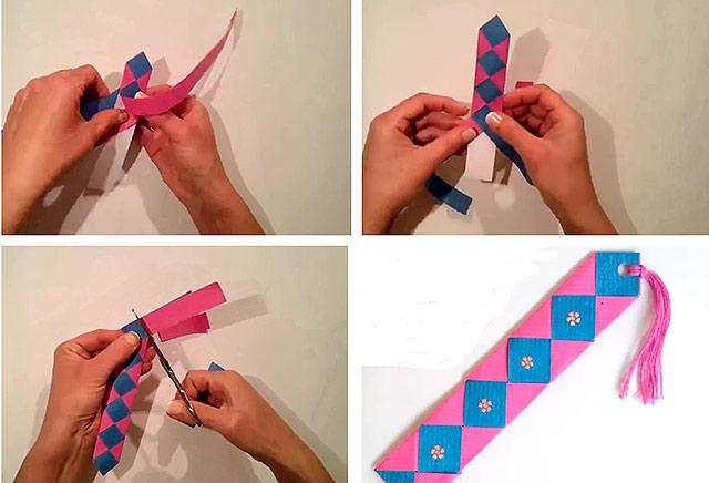 плетеная закладка из бумаги