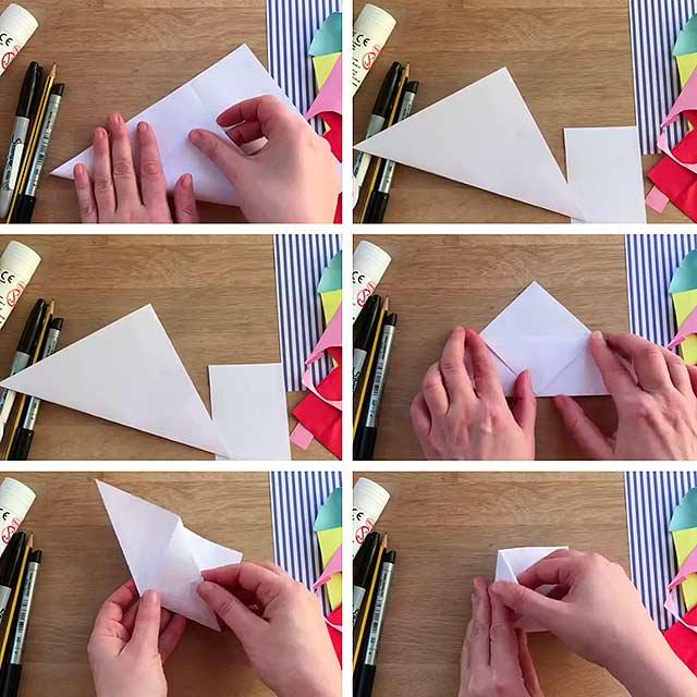 складывание уголка бумаги