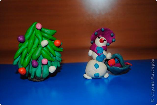 Поделки из пластилина на Новый год 2019 (ёлочка, снеговик, Дед Мороз)