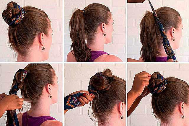 пряди волос с платком