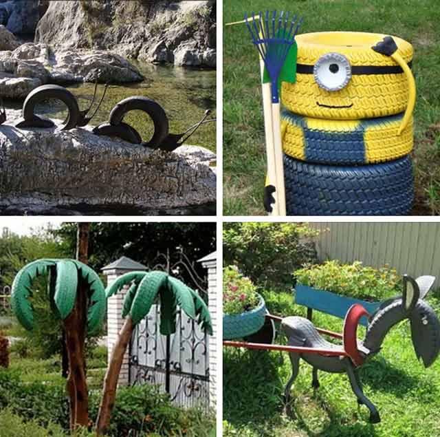 Поделки из покрышек для сада и огорода с фото и описанием (50 идей)
