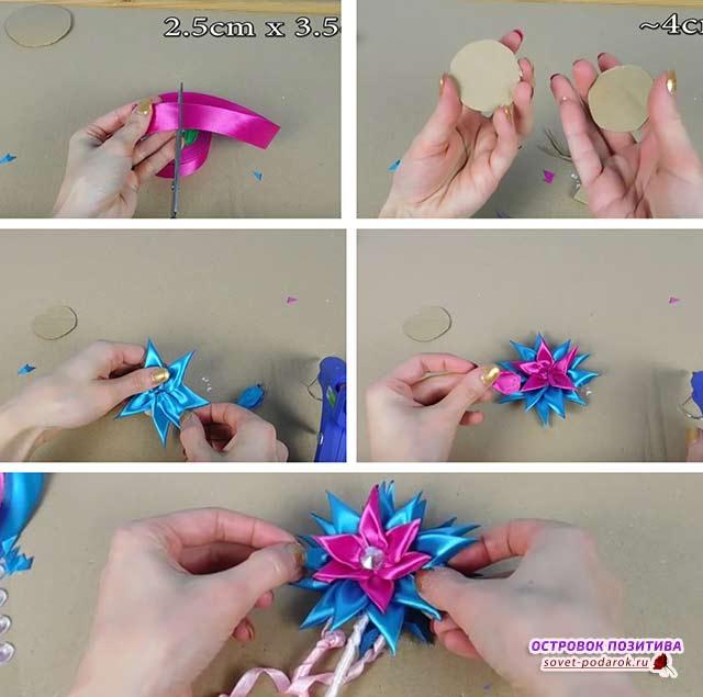 как сделать из лент волшебную палочку
