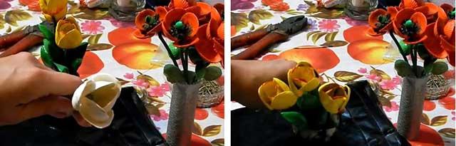 тюльпаны из ракушек