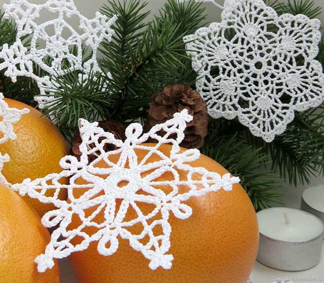 белая снежинка, связанная крючком
