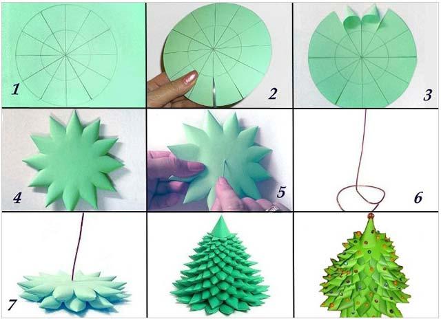 объемная елка на подставке из бумаги