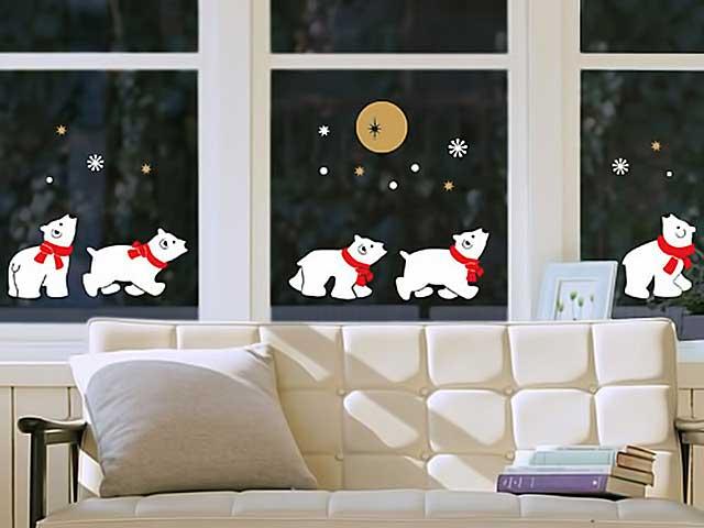 красивое окно с белыми медведями