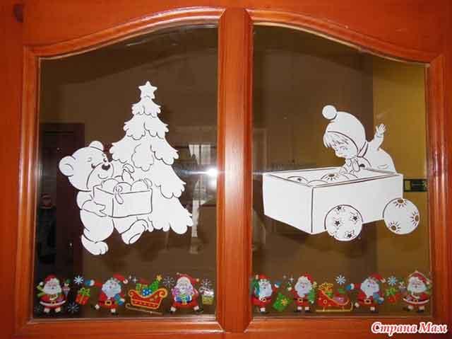 красивое окно на Новый год
