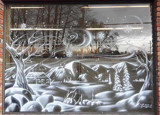 красивое новогоднее стекло